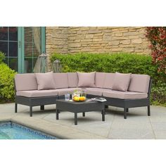 Stargaze and sunbath by the pool or in the backyard with this steel seating group. Removable cushions and accent pillows give the sectional a plush touch, while the woven design gives it breezy style fit for any alfresco ensemble.