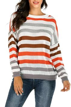 The autumn winter women sweater striped round neck sweater is so casual and it is a good choice of fashion and you will love it. Hoodie Outfit, Sweater Outfits, Sweater Hoodie, Fall Outfits, Loose Sweater, Grey Sweater, Cute Sweaters, Sweaters For Women, Rainbow Sweater