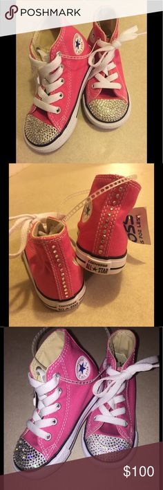 NWT! Custom Blinged Converse High Tops. NWT! Toddler Custom Blinged Converse High Tops.  Super Cute!  Custom stoned by me using Approx 300 Swarovski Crystals!  Crystals added Both on the toes & on the back of the high top.  Size 6 Converse Shoes Sneakers