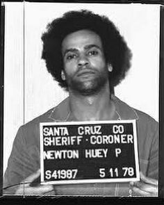 Huey Percy Newton Mug-shot. Co-founded Black Panther Party 1966 Political Activist A Prime Remast Angela Davis, Sierra Leone, Sheriff, Black Panthers Movement, Celebrity Mugshots, Civil Rights Leaders, Black Panther Party, By Any Means Necessary, Black History Facts