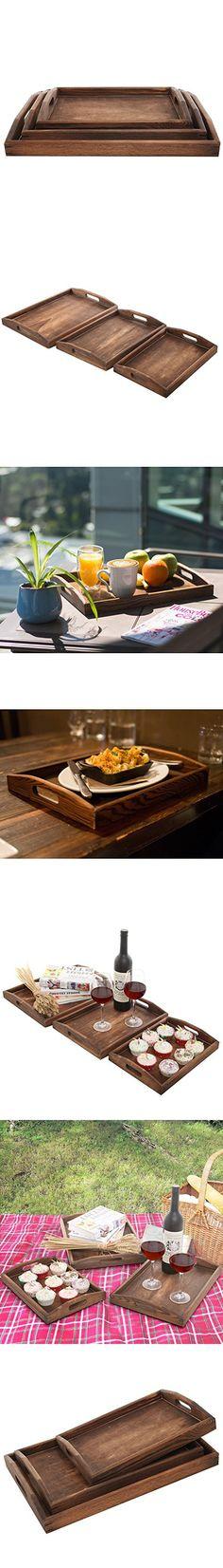 Set of 3 Dark Brown Double Handle Rectangular Nesting Breakfast / Coffee Table / Butler Serving Trays