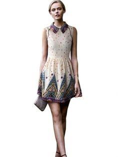 Retro Print Style Polo Collar Sleeveless Dress