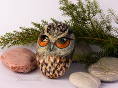 Painted rocks Hand-painted stone Owl by MariannaArtStones on Etsy Painted Rocks, Hand Painted, Rock Hand, Shell Beach, Stone Painting, Rock Painting, Beach Crafts, Chakra Stones, Pebble Art