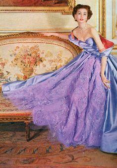 Suzy Parker in a dress by Christian Dior, Harper's Bazaar 1956.