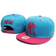 YMCMB NY Snapback Hats - Blue Pink
