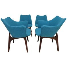 Set of Four Adrian Pearsall Sculptural Walnut Dining Chairs | 1stdibs.com