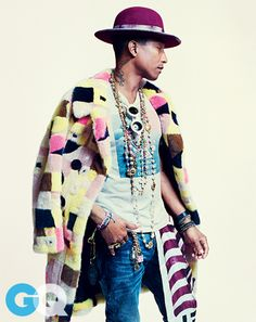 Pharrell Willams wearing Céline Spring 2015 fur coat