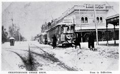 Snowfall difficulties at the corner of Colombo and Armagh, 1918(?)  Image Courtesy Transpress nz