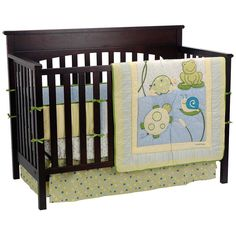 Happy pond creatures and soothing colors combine to make a cheerful neutral nursery on CoCo