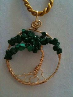 "Palm ""Tree of Life"" Genuine Malachite Pendant and Gold Cord, via Etsy."