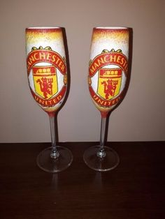 Unique decoupage handmade Football Manchester United champagne glasses in pairs   Sports Mem, Cards & Fan Shop, Fan Apparel & Souvenirs, Soccer-National Teams   eBay!