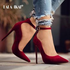 IKAI Ladies Flock Curve Pumps Pointed Toe Buckle Strap Super High Heels For Wedding Sapato Salto Feminino High Heel Pumps, Pointed Heels, Pumps Heels, Stiletto Heels, Work Heels, Suede Pumps, Red High Heels, High Heeled Boots, Heeled Sandals
