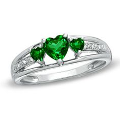 Heart-Shaped Lab-Created Emerald Three Stone and Diamond Accent Ring in Sterling Silver