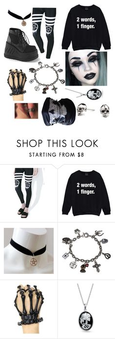 """"""".-."""" by the-wayward-huntress ❤ liked on Polyvore featuring Rat Baby, Demonia, Sweet Romance, Bling Jewelry and Kasun"""