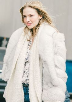 How to Wear Winter Whites Outfit Idea: Big White Fur Jacket for Brunch With Friends // Shop this Look: (http://www.racked.com/2015/12/18/10152930/winter-white-clothes)