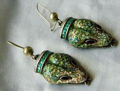 MARGOT DE TAXCO Sterling Enamel Snake Earrings...how amazing!!!!!!!