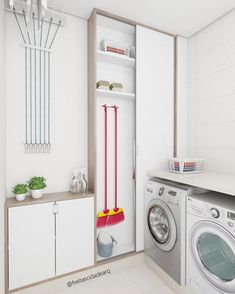 Browse laundry room ideas and decor inspiration for small spaces. Custom laundry rooms and closets, including utility room organization & storage ideas. Hidden Laundry, Small Laundry Rooms, Laundry Room Design, Laundry Area, Laundry Room Cabinets, Laundry Room Organization, Laundry Storage, Küchen Design, Design Ideas