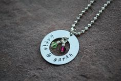 Items similar to Personalized Hand Stamped Silver Necklace -- silver -- 1 ring disc on Etsy Washer Crafts, Craft Projects, Craft Ideas, Hand Stamped Jewelry, Lowes, Heavy Metal, Birthstones, Washer Necklace, Stamping