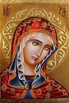 ΘΥ__Παναγία (Hand Painted on wood Romanian Orthodox Icon --- Holy Mother Mary Religious Pictures, Religious Icons, Religious Art, Byzantine Icons, Byzantine Art, Blessed Mother Mary, Blessed Virgin Mary, Madonna, Immaculée Conception