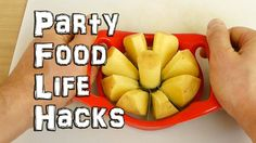 Life hacks and tips for party food. How to make simple snacks for a kids party. Make quick potato wedges, serve chips or crisps, how to cut watermelon, perfe...