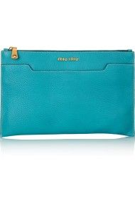 Miu Miu Grainedleather Clutch in Blue (turquoise)