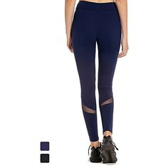 d8168945906ec MOFEVER Women Workout Fitness Yoga Pants Tights Leggings with Mesh Tummy  Control Mid Waist Compression Fabric Hidden Inner Pocket Activewear for Gym  ...