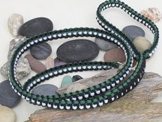 Green, White and Black Paracord Dog Lead