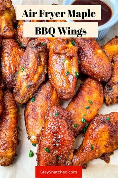 These Keto Low Carb Chicken Wings are breaded and crispy and then drizzled in maple syrup and BBQ. These sticky wings are perfect for dinners, Game Days, or any spread. Low Carb Chicken Wings, Bbq Chicken Wings, Bbq Wings, Air Fryer Chicken Wings, Chicken Wing Recipes, Diet Dinner Recipes, Air Fryer Dinner Recipes, Delicious Dinner Recipes, Keto Recipes