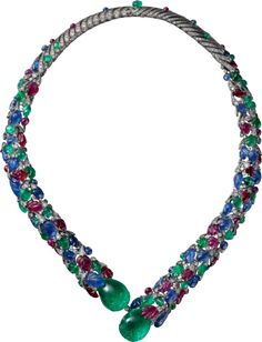 CARTIER HIGH JEWELRY NECKLACE Platinum, emeralds, rubies, sapphires, diamonds