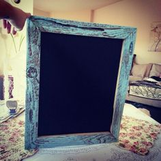 Love this blue rustic chalkboard I made.