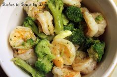 Steamed Shrimp and Broccoli served over rice using Rice Cooker and Steamer. GIVEAWAY for the Cooker!