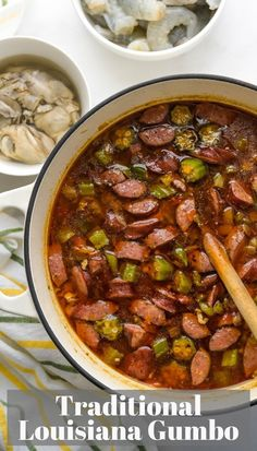 This authentic gumbo recipe uses a traditional roux with shrimp, oysters, chicken and sausage for a Louisiana gumbo recipe you'll love. Cajun Gumbo Recipe, Chicken Gumbo Recipes, Shrimp And Sausage Gumbo, Seafood Gumbo, Shrimp Gumbo, Seafood Boil, Chicken Sausage, Creole Recipes, Cajun Recipes