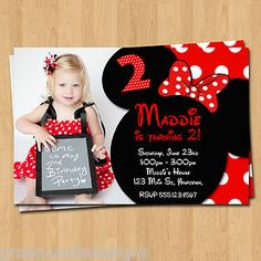 Minnie Mouse Invitations 20 Birthday Party Invites Envelopes Custom Photo | eBay