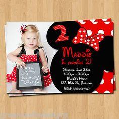 Minnie Mouse Invitations 20 Birthday Party Invites Envelopes Custom Photo | eBay