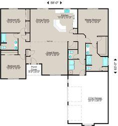 Lexar Homes - 2044 Floor Plan remove bathroom between bedrooms and put kitchen along wall of bedroom 2 and old bathroom make old kitchen the diningroom, laundry room an office