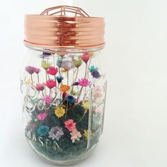 Mason Jar design with copper lid  #littlebloomingwonder Www.olliandash.com.au