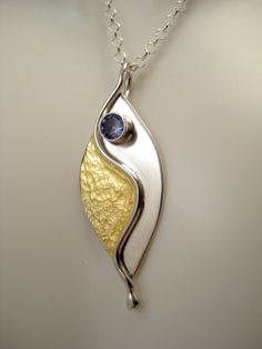 Hammered 24kt Gold and Fine Silver Split Leaf by LauraRoberson