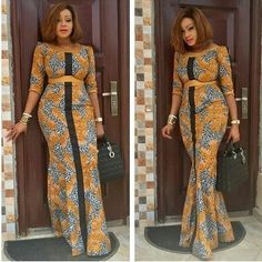 The complete pictures of latest ankara long gown styles of 2018 you've been searching for. These long ankara gown styles of 2018 are beautiful Latest African Fashion Dresses, African Dresses For Women, African Print Dresses, African Print Fashion, Africa Fashion, African Attire, African Wear, Ankara Fashion, African Women