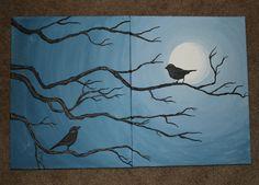 Canvas Set Birds on a Tree Branch by FawnAnselmoArtistry on Etsy, $25.00