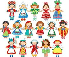 collected both dolls and paperdolls from around the world - these are colorful and fun! Felt Crafts, Paper Crafts, Globe Art, World Thinking Day, We Are The World, It's A Small World, Vintage Paper Dolls, World Cultures, Paper Toys