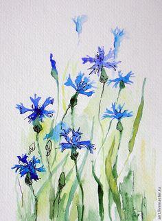 Купить Васильки Акварель 13х18 см - васильковый, васильки, полевые цветы, цветы картины