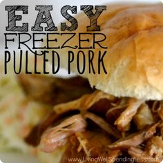 This easy freezer pulled pork can be made in minutes, frozen until needed, then slow cooked to perfection, plus feeds 8-10 people using a $5 cut of meat!