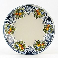 Amazon.com | Hand Painted Italian Ceramic 11-inch Dinner Plate irregular shape Frutta Blu - Handmade in Montelupo, Tuscany: Dinner Plates