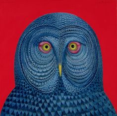 Giclee Print: Blue Owl, 1995 by Tamas Galambos : The Caged Bird Sings, Fairy Tales For Kids, Fairytale Fantasies, Owl Always Love You, Ceramic Owl, Gray Owl, Soul Art, Naive Art, Bird Art