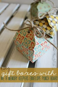 Tiny Gift Boxes with We R Memory Keepers Envelope Punch Board at GingerSnapCrafts.com #wermemorykeepers