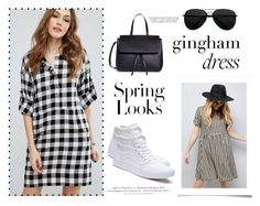 """Gingham Dress"" by unknown-style-cxx ❤ liked on Polyvore featuring New Look, Warehouse, Vans, Mansur Gavriel, H&M and Victoria Beckham"