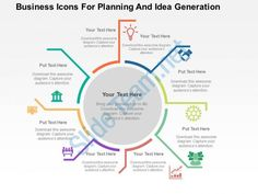 business icons for planning and idea generation flat powerpoint design Slide01