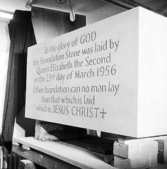 The Foundation Stone, Coventry Cathedral, 1956 Coventry Homes, Coventry Cathedral, Bamboo Fence, English Heritage, Family Memories, Jesus Quotes, 1950s, Foundation, Old Things