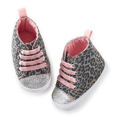 Animal Print High Top Crib Shoes - $15