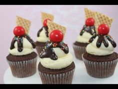 Cupcakes! Make Mini Ice Cream Sundae Cupcakes - A Cupcake Addiction How To Tutorial - YouTube